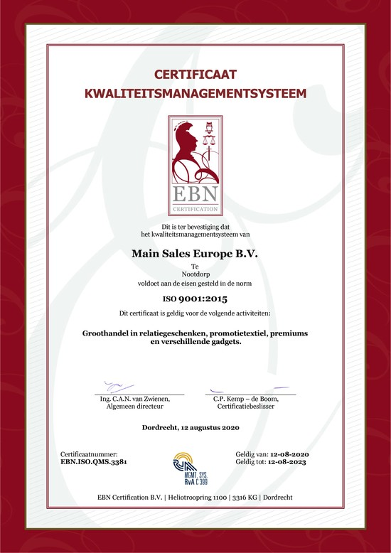 Main Sales ISO 9001 en ISO 14001 gecertificeerd